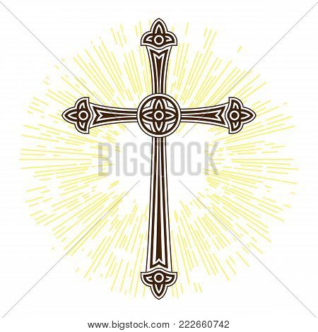 Silhouette of ornate cross with sun lights. Happy Easter concept illustration or greeting card. Religious symbol of faith.