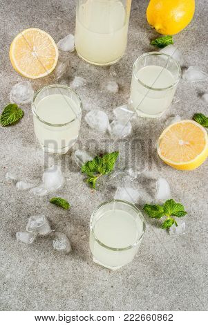 Traditional italian alcoholic homemade beverage, lemon liqueur limoncello with fresh citrus, ice and mint, on grey stone table, copy space