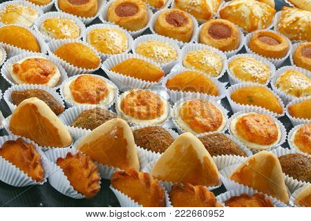 Various typical Brazilian small savory snacks