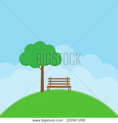 tree and bench on moutain slope. green nature landscape