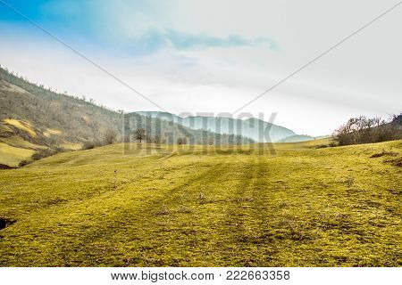 Green grass field on blue sky with mountain at far distant. Car tyre trails on grass. Rural Landscape concept. poster