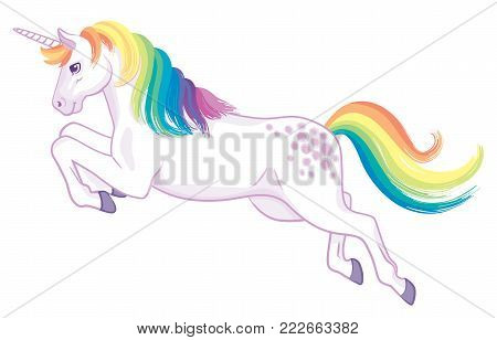 A cartoon unicorn with rainbow mane and tail, in a leaping pose. Vector Illustration.