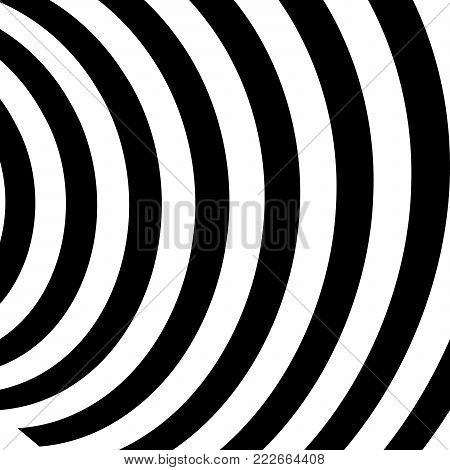 Abstract Vector Background of Waves,  Optical Illusion, Black and White Line Art, Wave Icon, Optical Art Background, Wave Design, Abstract Lines, Modern Striped Background, Zebra Stripes