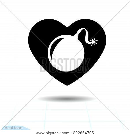 Heart icon. A symbol of love. Valentine s day with the sign of the bomb. Flat style for graphic and web design, logo. Adrenaline addiction. Vector bomb, warning sign explosive