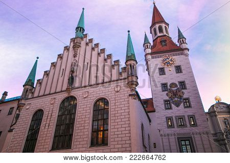 Old Town Hall (Altes Rathaus) at dusk, Munich, Bavaria, Germany