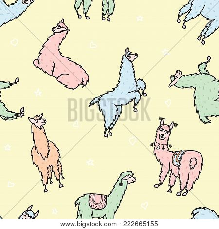 Vector seamless pattern with south America cute lama with decorations. Isolated outline cartoon baby llama. Hand drawn Peru animal guanaco, alpaca, vicuna. Drawing for print, fabric.