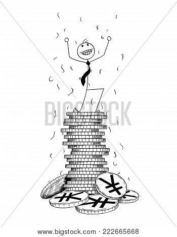 Cartoon stick man drawing conceptual illustration of businessman enjoying or celebrating on pile or stack of Japan Yen or China Yuan Renminbi coins. Concept of business success.