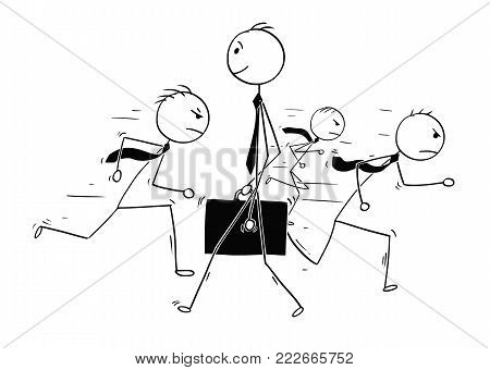 Cartoon stick man drawing conceptual illustration of businessman standing out of the crowd . Concept of business individuality.