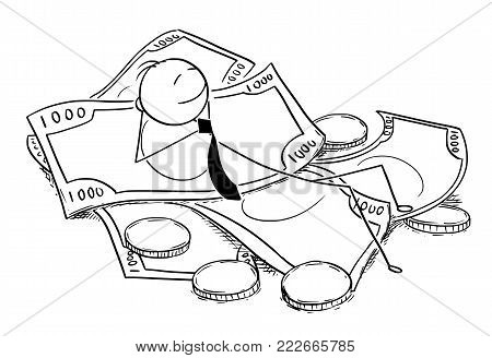 Cartoon stick man drawing conceptual illustration of businessman enjoying lying on pile of money, coins and banknotes. Concept of business financial success.