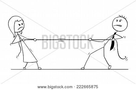 Cartoon stick man drawing conceptual illustration of businessman and businesswoman playing tug of war with rope. Concept of business team competition.