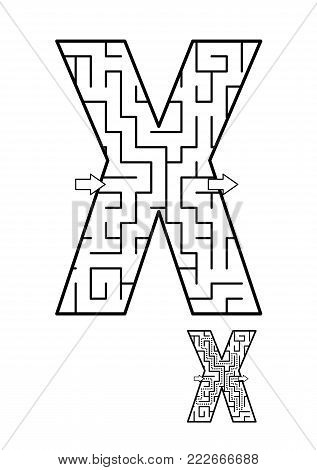 Alphabet  learning fun and educational activity for kids - letter X maze game. Answer included.