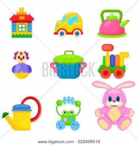 Toy house, yellow car, pink kettle, funny clown, bright saucepan, colorful train, watering can, frog beanbag and soft bunny vector illustrations.