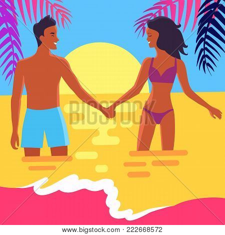 Poster of peaceful coast with palm trees and lovers at sunset. Vector illustration of man and woman holding hands and standing in sea
