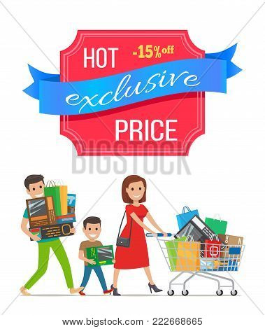 Hot exclusive price -15 off low cost special offer discount poster people shopping. Parents and boy vector family carrying trolley full of packages