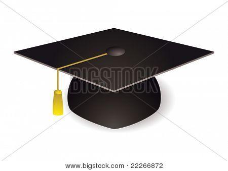 Black graduation mortar board hat with gold trim