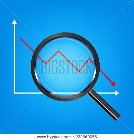 black magnify glass analysis falling stock graph
