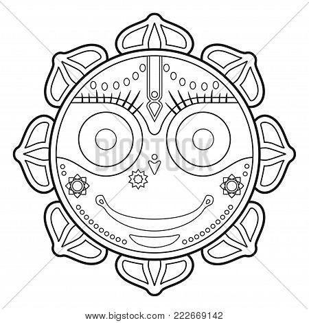 Jagannath, Indian God of the Universe, Lord Jagannatha, Jagannath Puri, Odisha - stock vector