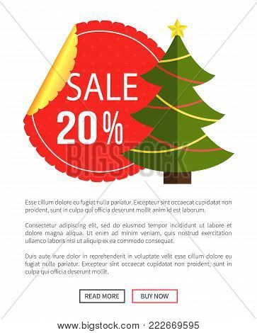 Christmas sale buy now posters vector illustration of promotion cards with text sample, New Year trees with cute toys, push-buttons