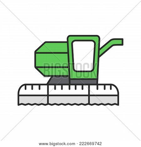 Combine harvester color icon. Agricultural implement. Isolated vector illustration