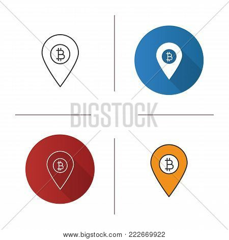 Bitcoin ATM location icon. Flat design, linear and color styles. Map pinpoint with bitcoin sign. Isolated vector illustrations