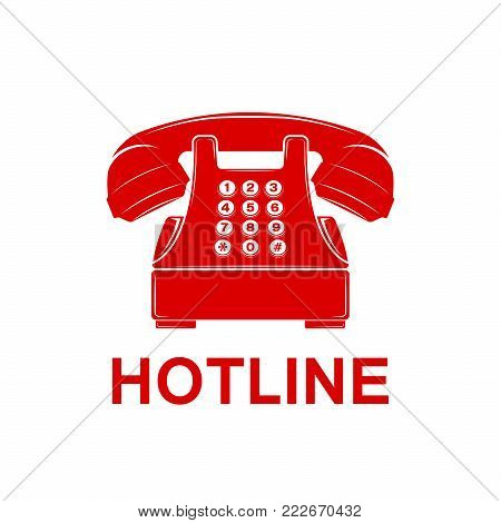 Phone vector icon. Telephone and support hotline helpdesk symbol. Flat Vector illustration