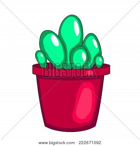 Houseplant, cactus in a pot. Vector on white background