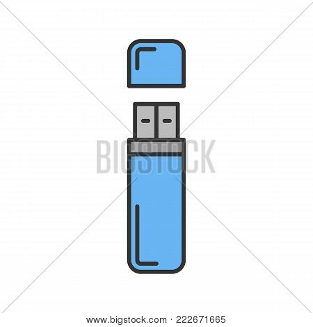 USB flash drive color icon. Memory stick. Isolated vector illustration