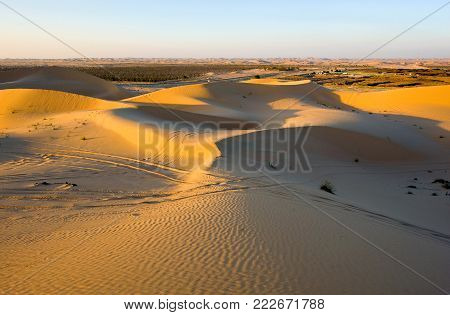 Sand dunes during sunset in the desert in the United Arab Emirates.