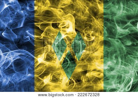 Saint Vincent and the Grenadines smoke flag isolated on a black background