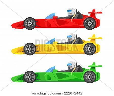 Set of colorful fast motor racing cars, formula 1 (one), bolides sport racing car flat vector icons isolated on white background. Speed motor drive. View side. Vector illustration
