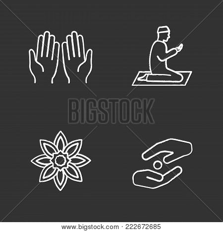 Islamic culture chalk icons set. Praying hands and muslim, islamic star, zakat. Isolated vector chalkboard illustrations