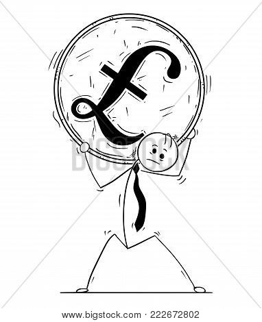 Cartoon stick man drawing conceptual illustration of businessman carry big pound sterling coin on his shoulders.