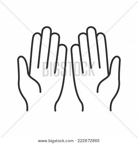 Muslim praying hands linear icon. Thin line illustration. Palms. Asking to Allah. Contour symbol. Vector isolated outline drawing