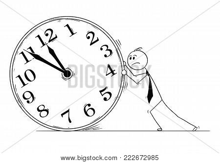 Cartoon stick man drawing conceptual illustration of overworked businessman pushing big clock. Business concept of deadline and working overtime.