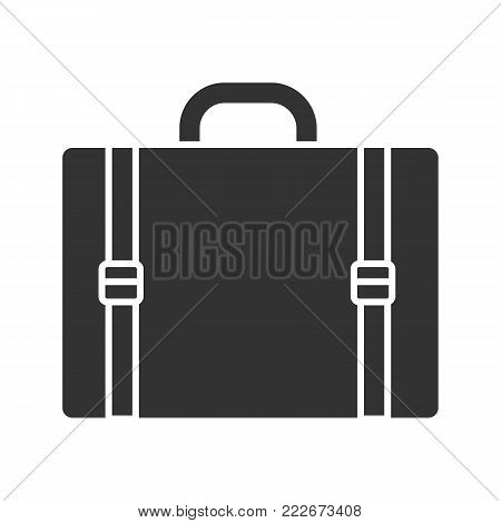 Travel luggage suitcase glyph icon. Silhouette symbol. Negative space. Vector isolated illustration