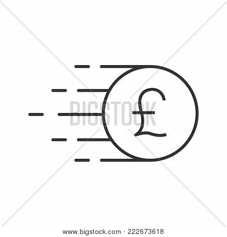 Flying British pound coin linear icon. Thin line illustration. Great Britain currency. Contour symbol. Vector isolated outline drawing