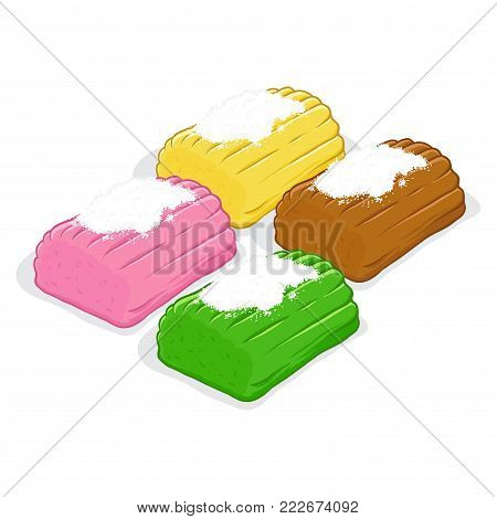 Vector stock of getuk lindri indonesian traditional food made from cassava with shredded coconut on top