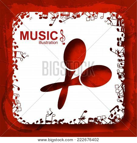 Musical abstract background with red maracas white square and notes icons on crumpled paper isolated vector illustration
