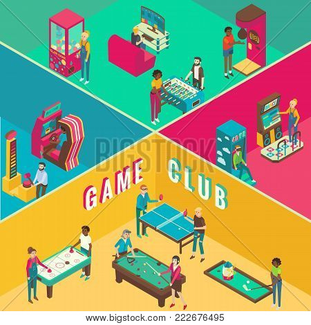 Game club vector flat 3d isometric illustration. Cutaway interior with amusement arcade game machines, video arcade and table games concept design elements.