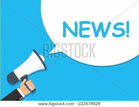 Hand holding Megaphone. Announcement. NEWS! - stock vector.