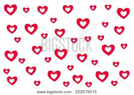 Red and white heart shape pattern on white isolated background. Hand drawn illustration raster wallpaper of lovely red heart for love theme on Valentine's day concept. Cute red heart can apply for product display and other design. Red heart background.