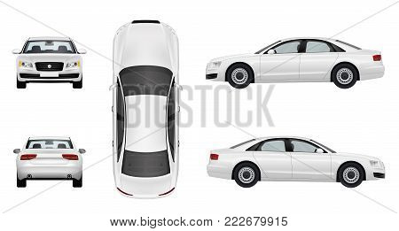 Car Business sedan, isolated on a white background - stock vector.