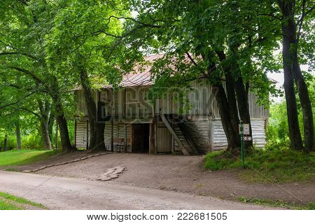 Wooden house at the farmyard in the estate of Count Leo Tolstoy in Yasnaya Polyana in September 2017.