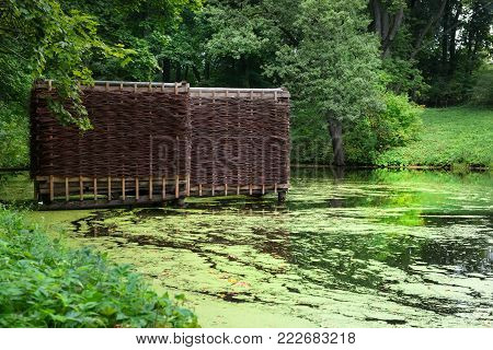 Bathing on a forest lake on the territory of the manor of Count Leo Tolstoy in Yasnaya Polyana in September 2017.