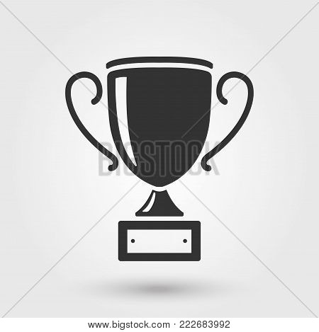 Trophy cup flat style icon - stock vector.
