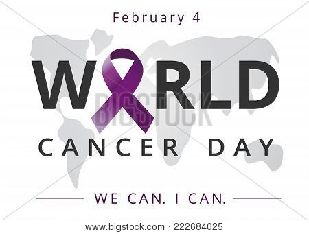 World cancer day, lettering and map, We can I can banner. February 4. Vector illustration of World Cancer Day with ribbon and text on world map