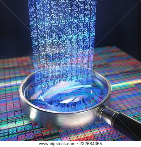 3D illustration. DNA Sanger Sequencing and a Magnifying Glass Showing the DNA codes.
