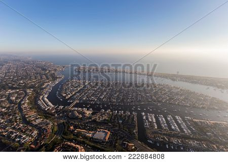 Aerial view of Newport Beach and harbor on the pacific coast in California.