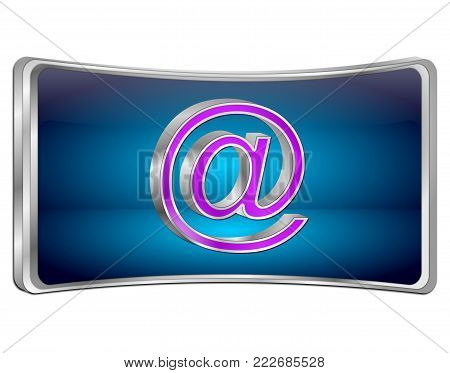 decorative blue E-Mail Button - 3D illustration