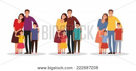 A happy family. Father, mother, son and daughter together. With different variants of colors - stock vector.